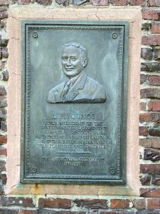 Bronze plaque dedicated to LB Youngs