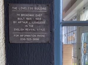 Plaque posted on the Loveless Building