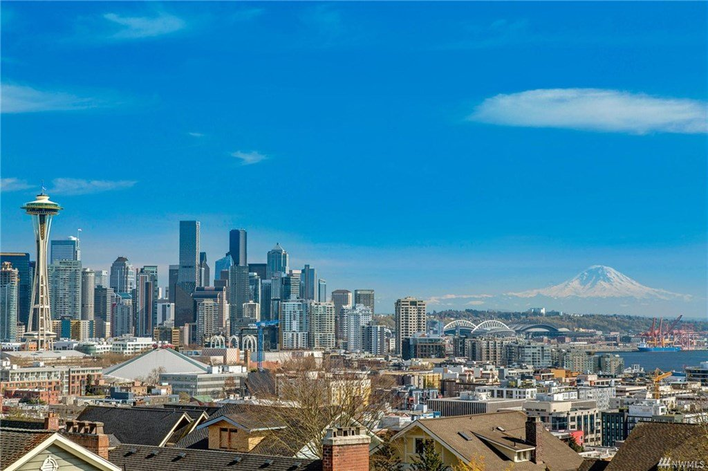 View of Mount Rainier and the Space Needle