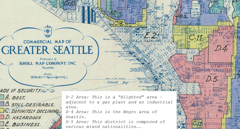 Portion of the 1936 redlining map of Seattle