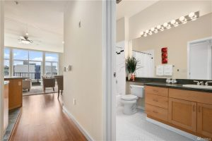 The bathroom and short hall