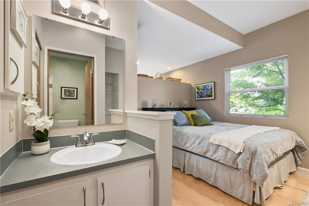 Bedroom viewed from the sink area