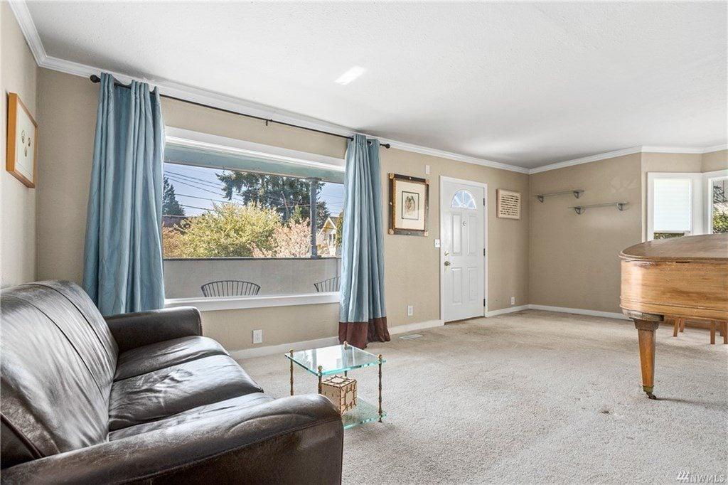 Living room with open window