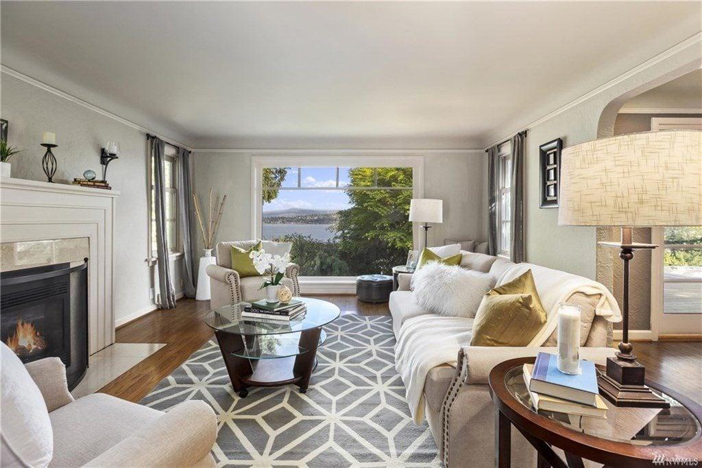 Living room with a view of Lake Washington