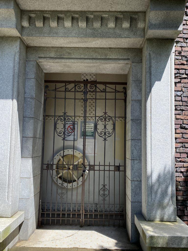 Closeup of north entrance door