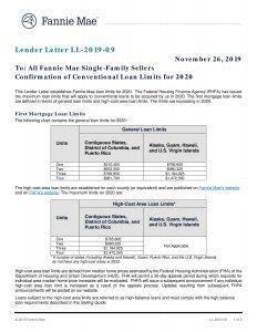 Fannie Mae Loan Limits - 2020-1