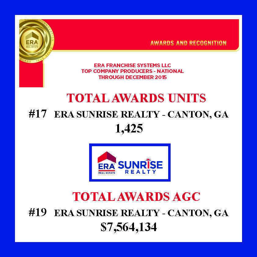 ERA Sunrise Winners Franchise Awards 2015