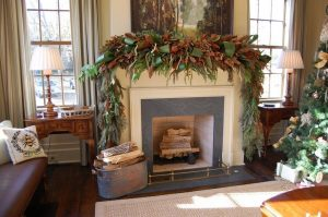 holiday interior with fireplacce