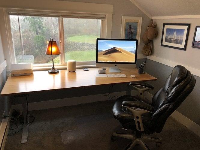 desk facing outdoors