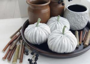 white fabric pumpkins