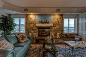 Fireplace in the penthouse of 2600 Eagleridge Drive