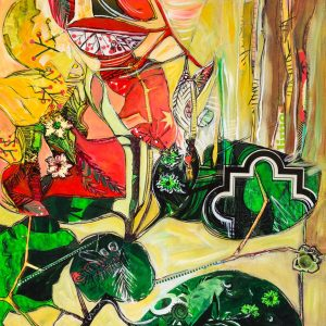"""""""Lime""""-Original-Acrylic-Mixed-Media-Collage-on-Canvas"""