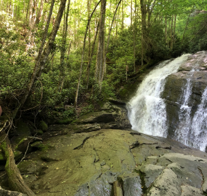 Rocks and waterfalls at Lower Pond Creek in Beech Mountain, North Carolina.