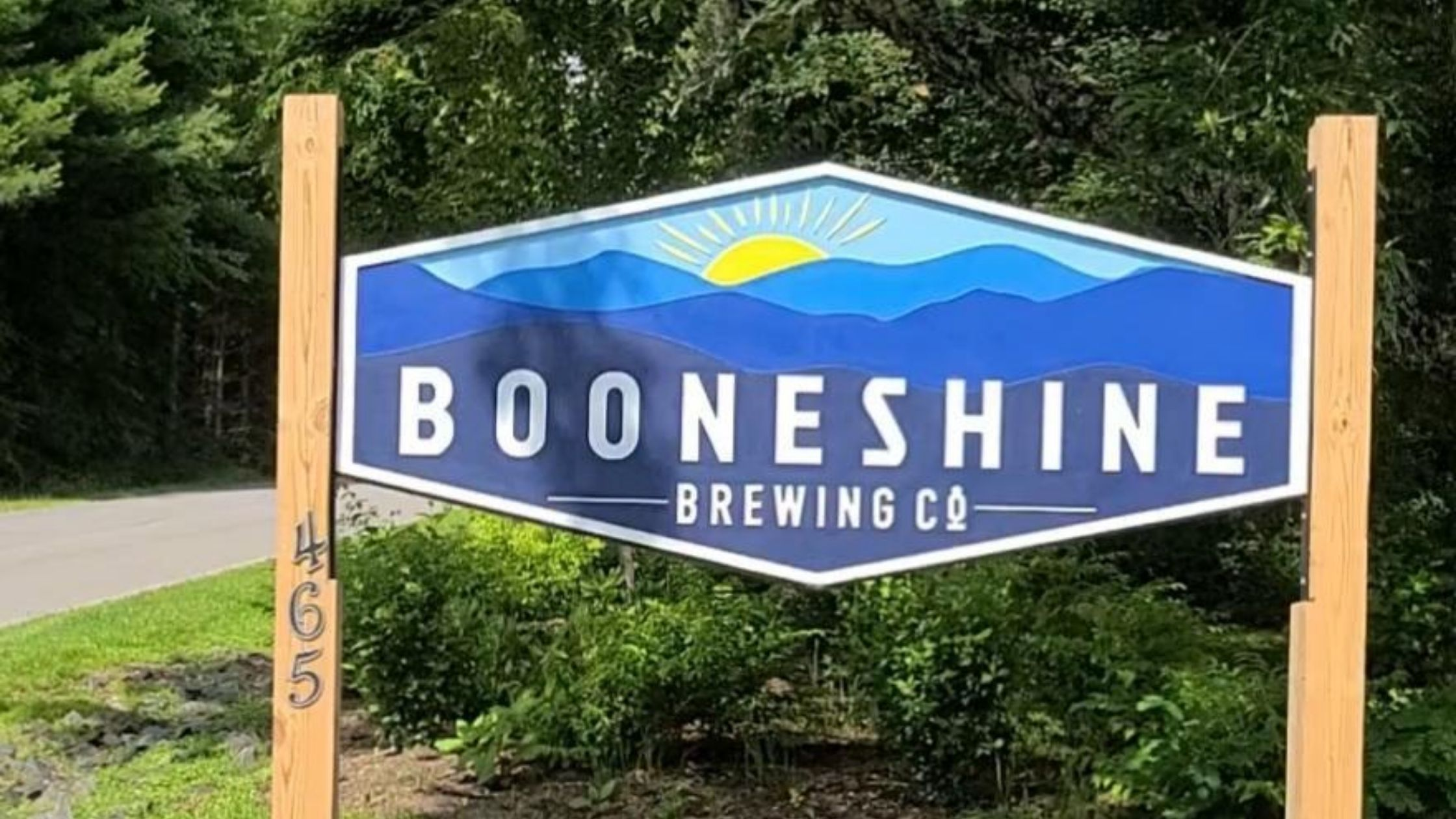 Signage outside of Booneshine Brewing Company in Boone, NC.