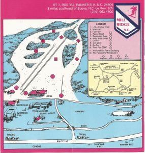 Mill Ridge Ski Resort map from the 1960s/1970s.