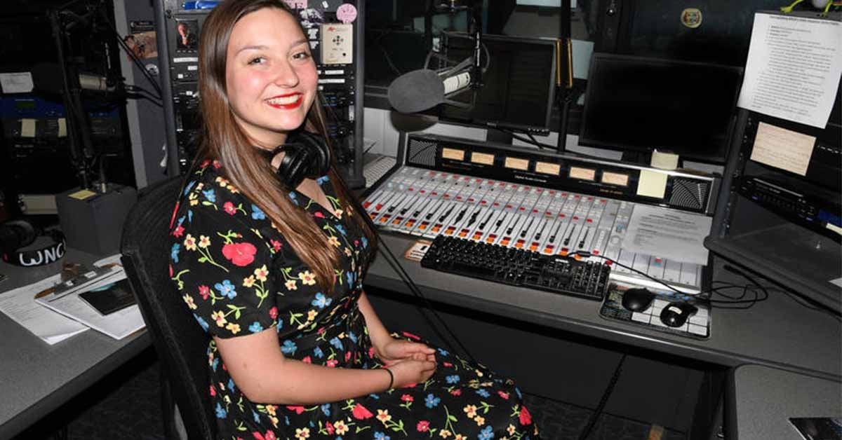 Lauren Wasmund volunteering at public radio station WNCW 88.7 FM in Spindale, NC.