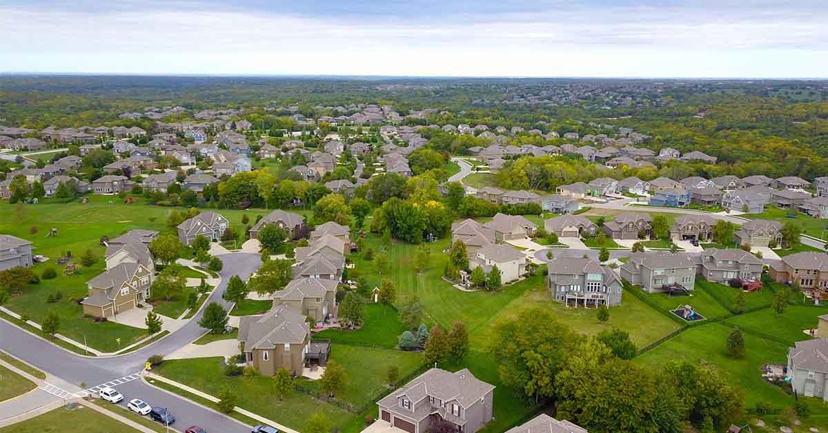 Aerial photograph of a neighborhood