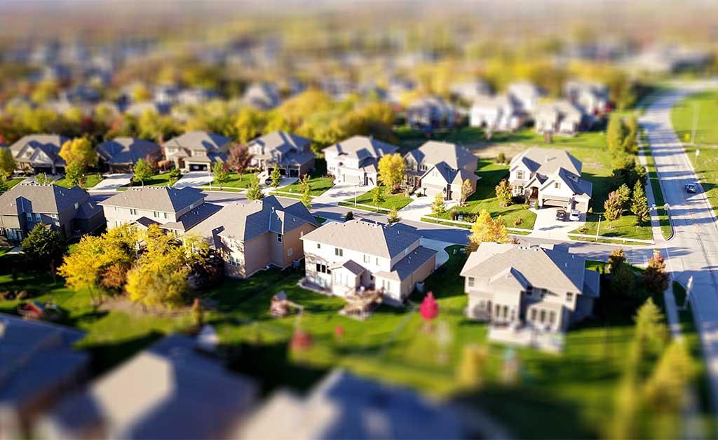 Aerial shot of a suburban neighborhood