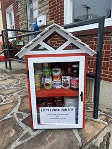 Free little pantry in downtown Boone gives away non-perishable food and hygenine items to people in need.