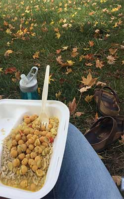 Chickpea lunch eaten at Sanford Commons at Appalachian State University in Boone, NC.