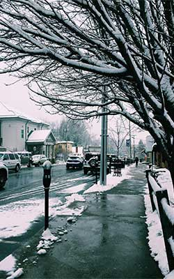 King Street in Boone, North Carolina covered in snow.