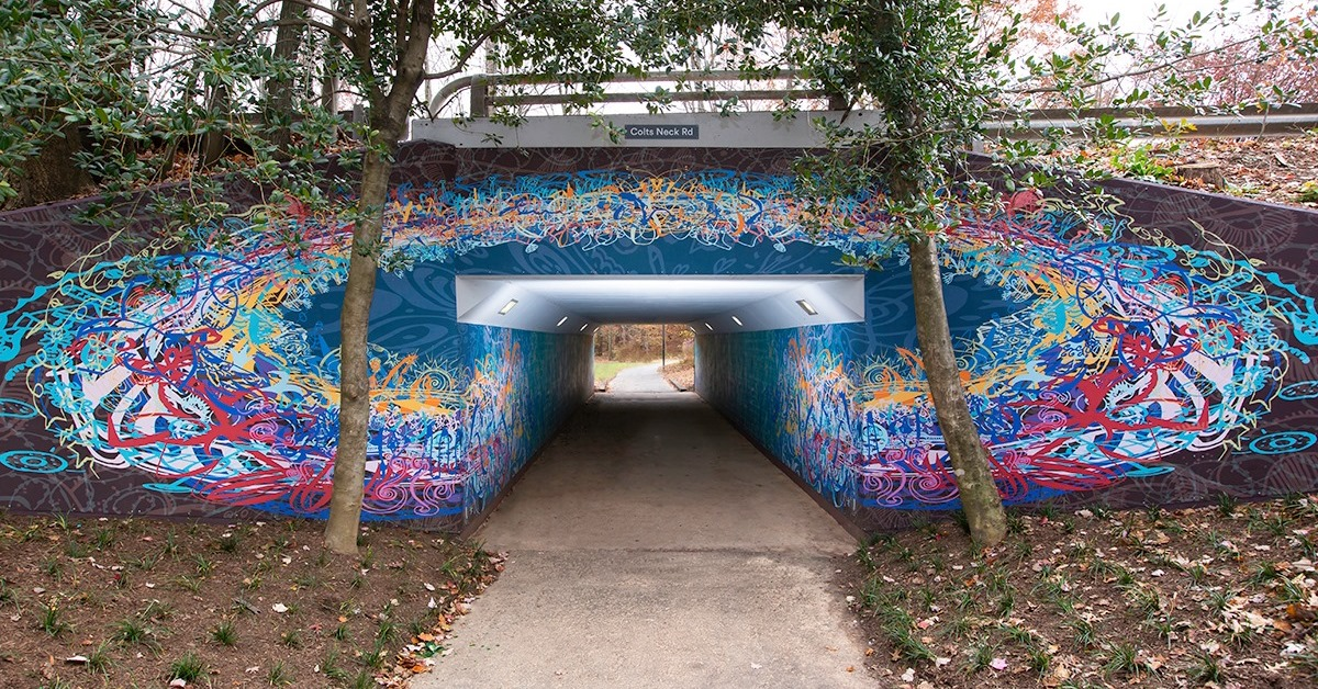 "Public Art Reston's ""Thoreau's Ensemble"" at Colts Neck Road Underpass in Reston, VA"