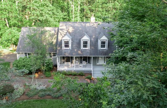 Aerial view of the front of a. house in Great Falls, VA