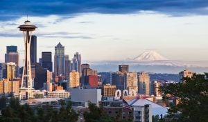 downtown from Kerry Park - stock photo