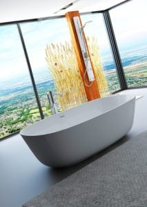 Awesome nature style bathroom interior with bathtub