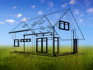 House concept in outlines on a natural background