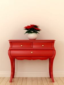 Red chest of drawers and a plant