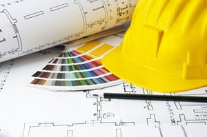 Blueprints and color swatch