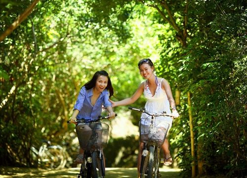 Two girls riding bikes through the park, trees, bike path in Allen TX