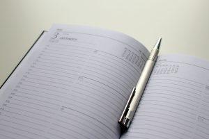 notebook calendar pen