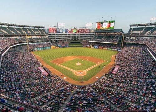Rangers Stadium packed, in Arlington TX