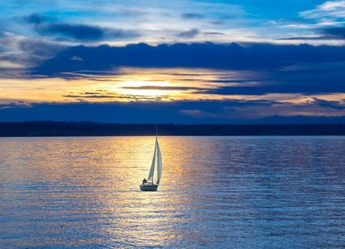 Sailboat at sunset on Lake Lewisville in Little Elm, TX
