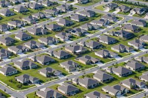 Survey Aerial view of houses in typical DFW community