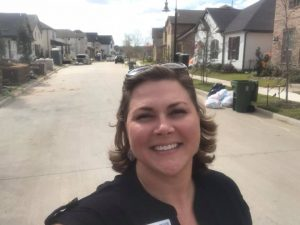 Amy Beyer at new construction in Grapevine
