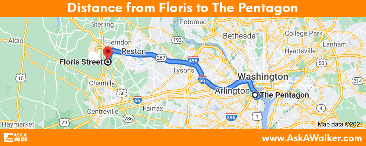 Distance from Floris to The Pentagon