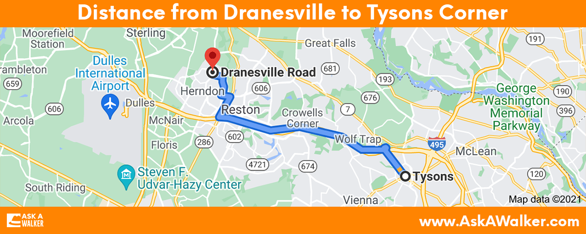 Distance from Dranesville to Tysons Corner