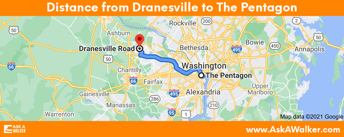 Distance from Dranesville to The Pentagon