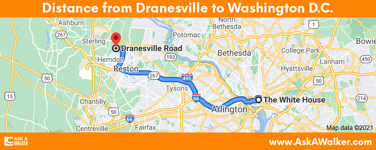 Distance from Dranesville to Washington D.C.