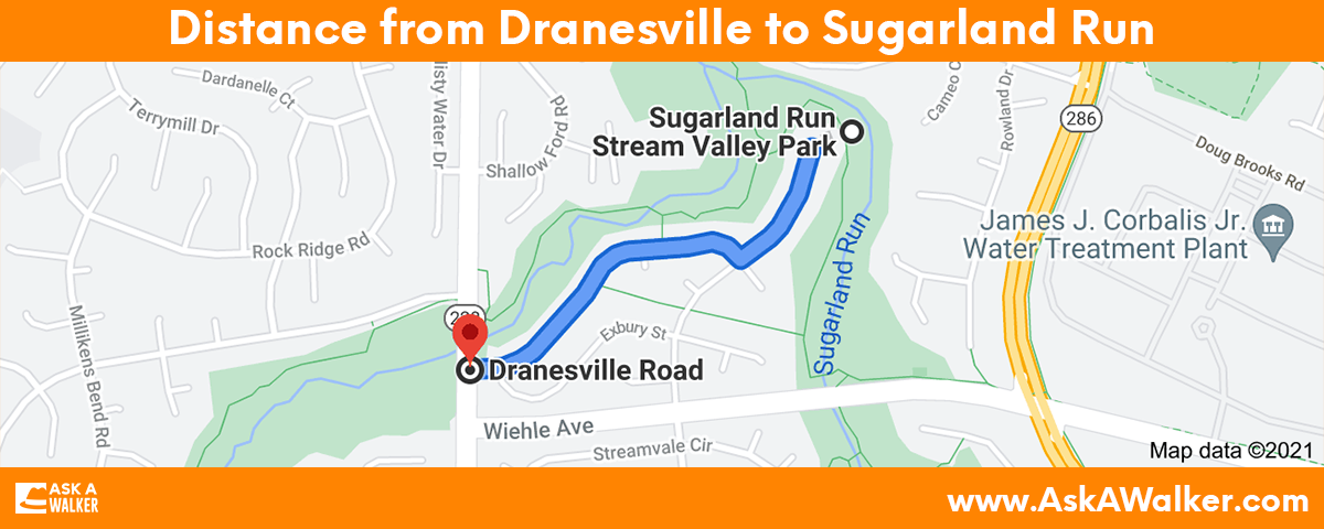 Distance from Dranesville to Sugarland Run