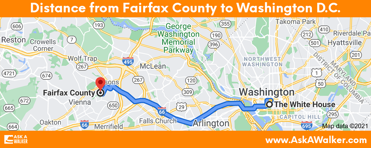 Distance from Fairfax County to Washington D.C.