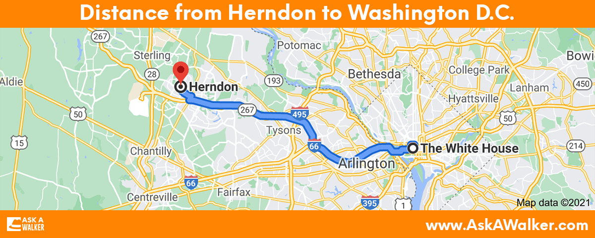 Distance from Herndon to Washington D.C.