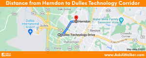Distance from Herndon to Dulles Technology Corridor