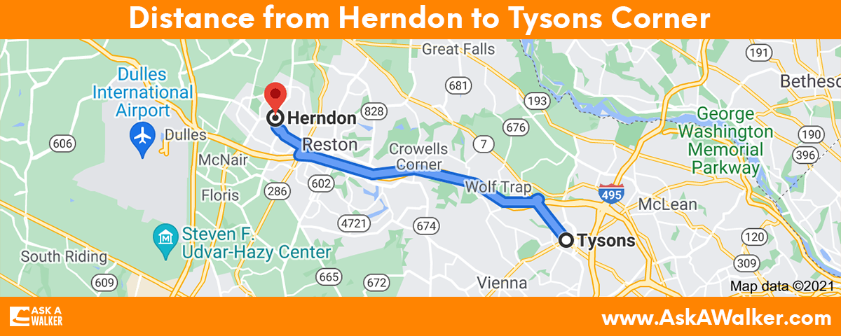 Distance from Herndon to Tysons Corner