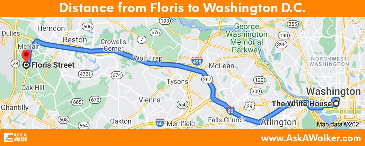 Distance from Floris to Washington D.C.