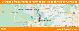 Distance from Franklin Farm to Dulles Technology Corridor