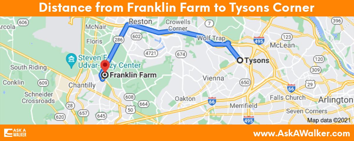 Distance from Franklin Farm to Tysons Corner
